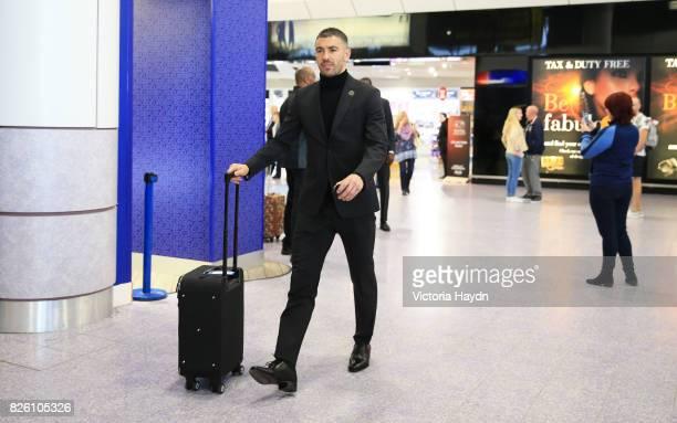 Manchester City's Aleksandar Kolarov at Manchester Airport