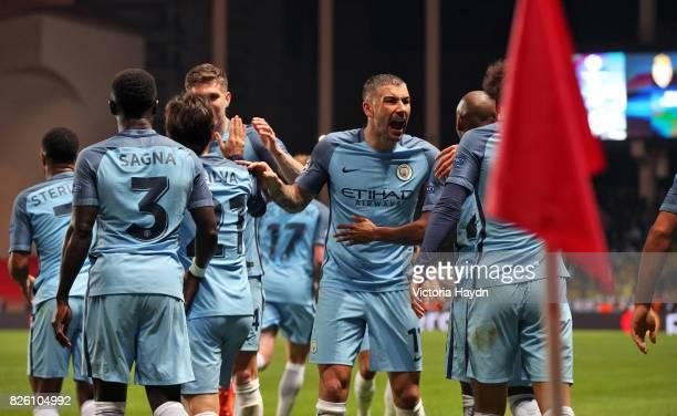 Manchester City's Aleksandar Kolarov celebrates his side's first goal