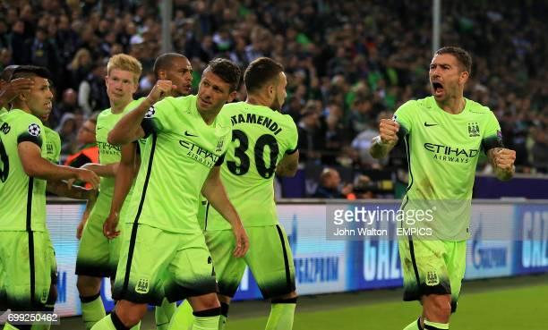 Manchester City's Aleksandar Kolarov celebrates their winning goal scored by teammate Sergio Aguero
