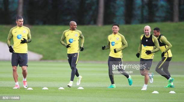 Manchester City's Aleksandar Kolarov Fernandinho Gabriel Jesus Pablo Zabaleta Fernando during training