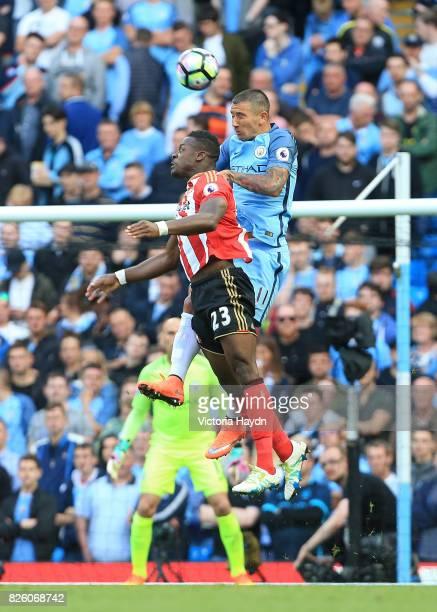 Manchester City's Aleksandar Kolarov in action with Sunderland's Lamine Kone