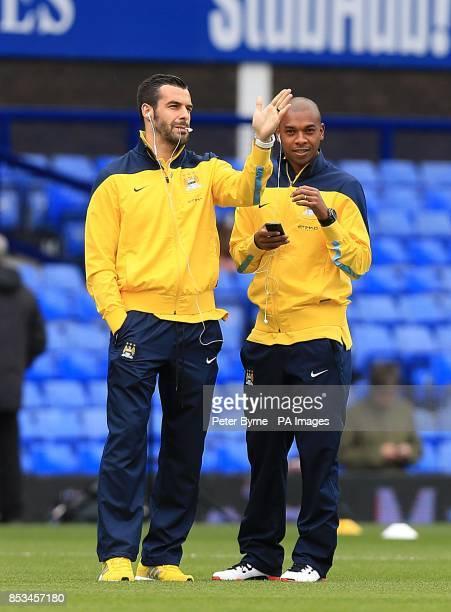 Manchester City's Alvaro Negredo and Fernandinho before kickoff