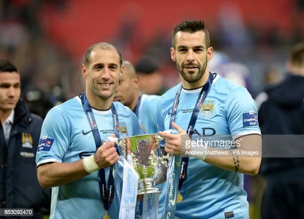 Manchester City's Alvaro Negredo and Pablo Zabaleta celebrate victory
