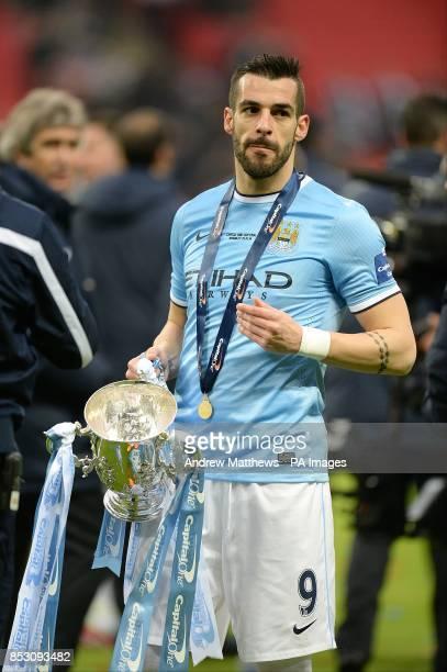 Manchester City's Alvaro Negredo celebrates victory