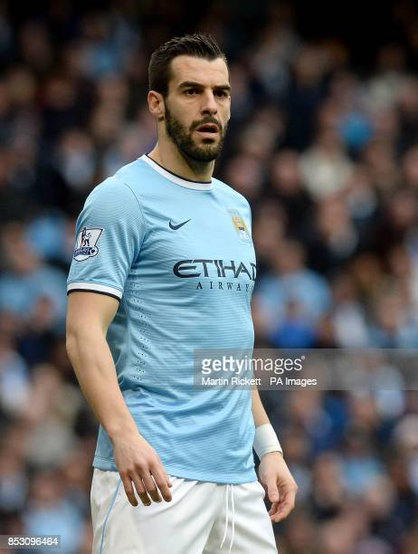 Manchester City's Alvaro Negredo during the Barclays Premier League match against Stoke City at the Etihad Stadium Manchester