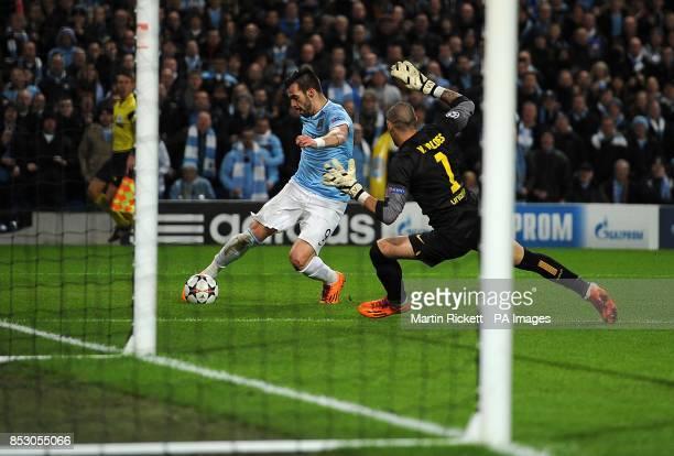Manchester City's Alvaro Negredo fails to score from a tight angle