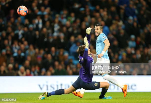 Manchester City's Alvaro Negredo scores his side's second goal of the game