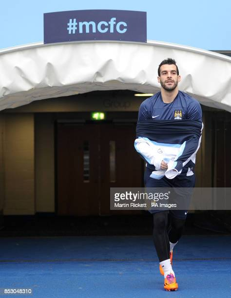 Manchester City's Alvaro Negredo walks out onto the pitch during the training session at the Etihad Stadium Manchester