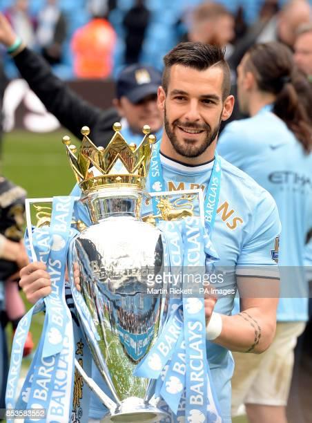 Manchester City's Alvaro Negredo with the Barclays Premier League trophy