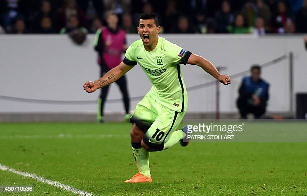 Manchester City's Argentinian forward Sergio Aguero celebrates scoring during the UEFA Champions League firstleg Group D football match between...