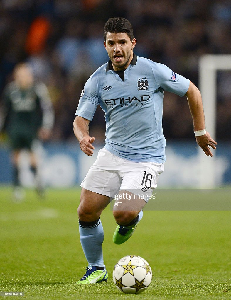 Manchester City's Argentinian forward Sergio Aguero controls the ball during the UEFA Champions League Group D football match between Manchester City and Real Madrid at the Etihad Stadium in Manchester, North-west England, on November 21, 2012.