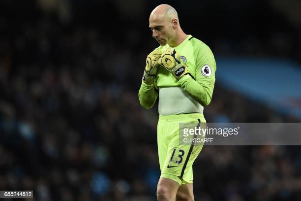 Manchester City's Argentinian goalkeeper Willy Caballero gestures during the English Premier League football match between Manchester City and...