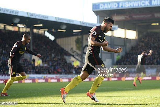 Manchester City's Argentinian striker Sergio Aguero celebrates after scoring their first goal during the English Premier League football match...