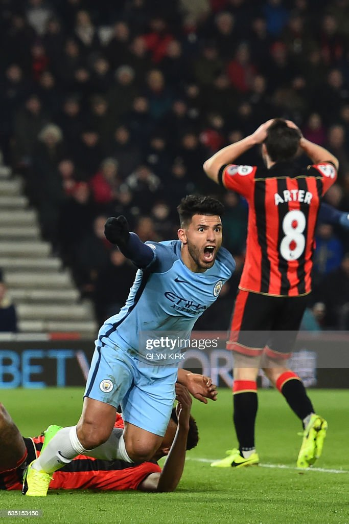 TOPSHOT - Manchester City's Argentinian striker Sergio Aguero celebrates after scoring their second goal during the English Premier League football match between Bournemouth and Manchester City at the Vitality Stadium in Bournemouth, southern England on February 13, 2017. / AFP / Glyn KIRK / RESTRICTED TO EDITORIAL USE. No use with unauthorized audio, video, data, fixture lists, club/league logos or 'live' services. Online in-match use limited to 75 images, no video emulation. No use in betting, games or single club/league/player publications. /