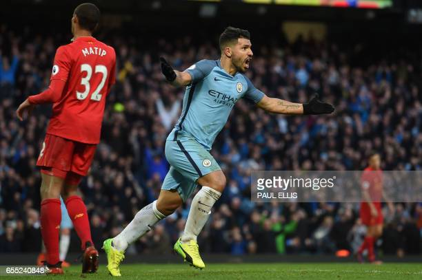 Manchester City's Argentinian striker Sergio Aguero celebrates after scoring during the English Premier League football match between Manchester City...