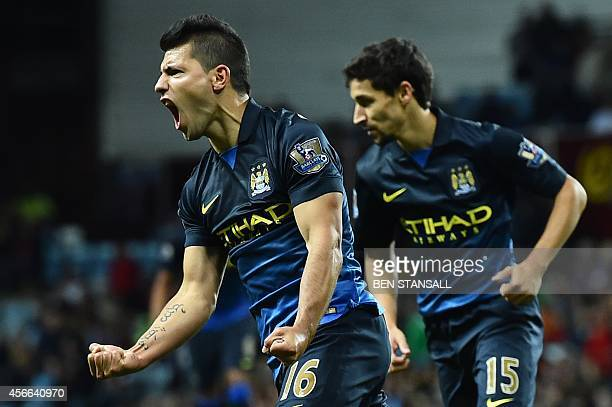 Manchester City's Argentinian striker Sergio Aguero celebrates scoring their second goal during the English Premier League football match between...