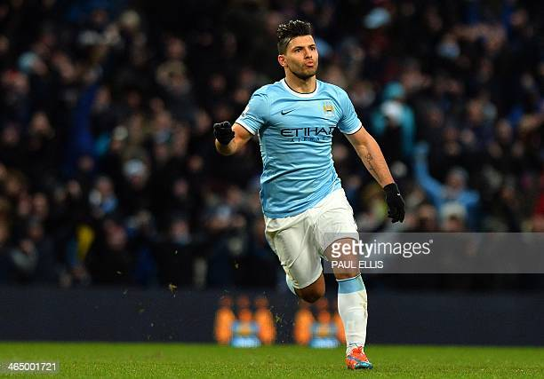 Manchester City's Argentinian striker Sergio Aguero celebrates scoring his second goal during the English FA Cup fourth round football match between...
