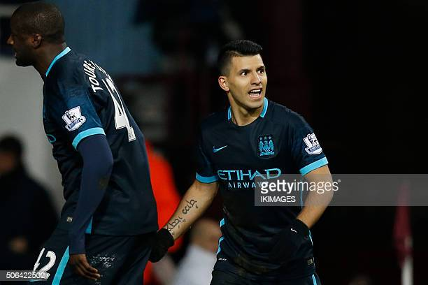 Manchester City's Argentinian striker Sergio Aguero celebrates scoring an equalising goal for 11 during the English Premier League football match...