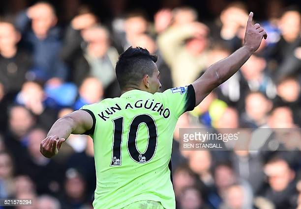 Manchester City's Argentinian striker Sergio Aguero celebrates scoring the opening goal of the English Premier League football match between Chelsea...