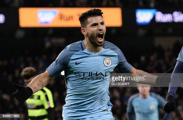 Manchester City's Argentinian striker Sergio Aguero celebrates scoring his team's second goal during the FA Cup fifth round replay football match...