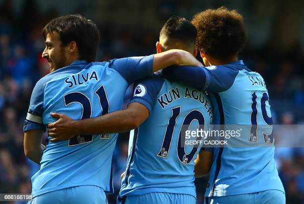 Manchester City's Argentinian striker Sergio Aguero celebrates scoring his team's second goal during the English Premier League football match...