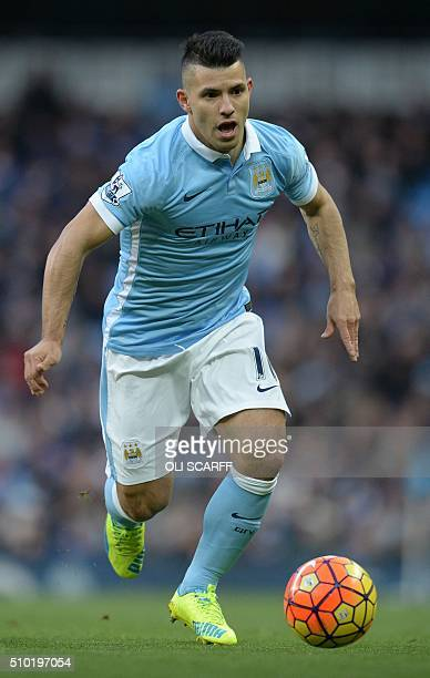 Manchester City's Argentinian striker Sergio Aguero controls the ball during the English Premier League football match between Manchester City and...