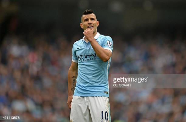 Manchester City's Argentinian striker Sergio Aguero gestures during the English Premier League football match between Manchester City and Newcastle...