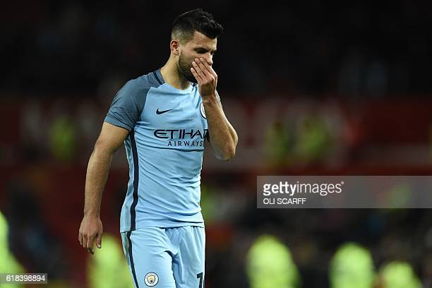 Manchester City's Argentinian striker Sergio Aguero leaves the pitch after the EFL Cup fourth round match between Manchester United and Manchester...