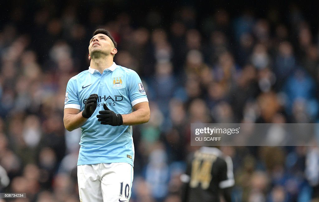 Manchester City's Argentinian striker Sergio Aguero reacts during the English Premier League football match between Manchester City and Leicester City at the Etihad Stadium in Manchester, north west England, on February 6, 2016. Leicester won the match 3-1. / AFP / OLI SCARFF / RESTRICTED TO EDITORIAL USE. No use with unauthorized audio, video, data, fixture lists, club/league logos or 'live' services. Online in-match use limited to 75 images, no video emulation. No use in betting, games or single club/league/player publications. /