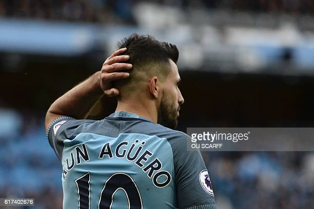 Manchester City's Argentinian striker Sergio Aguero reacts during the English Premier League football match between Manchester City and Southampton...
