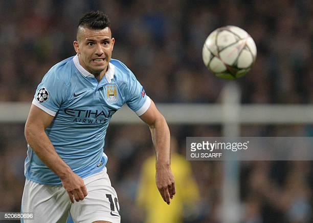 Manchester City's Argentinian striker Sergio Aguero runs for the ball during the UEFA Champions league quarterfinal second leg football match between...