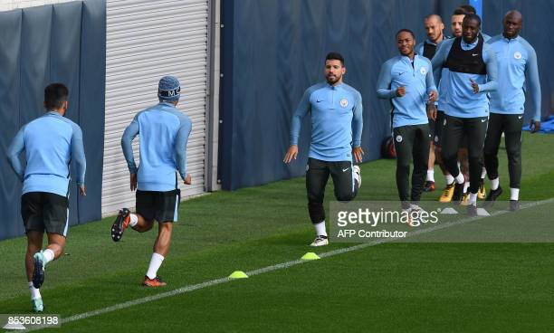 Manchester City's Argentinian striker Sergio Aguero takes part in a training session at the City Football Academy in Manchester northwest England on...