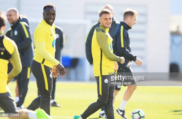 Manchester City's Bacary Sagna and Aleix Garcia during training