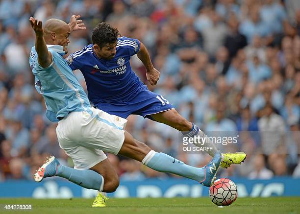 Manchester City's Belgian defender Vincent Kompany vies with Chelsea's Brazilianborn Spanish striker Diego Costa during the English Premier League...