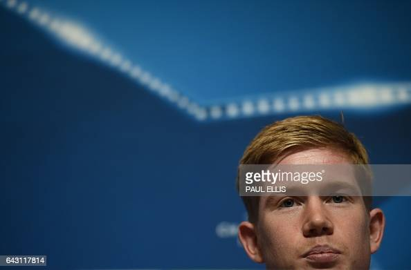 Manchester City's Belgian midfielder Kevin De Bruyne addresses the media during a press conference at the City Football Academy in Manchester...