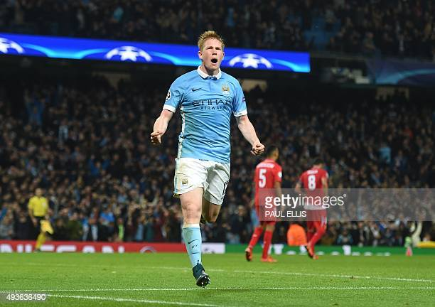 Manchester City's Belgian midfielder Kevin De Bruyne celebrates after scoring during a UEFA Champions league Group D football match between...