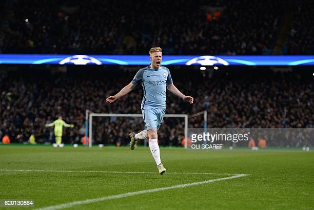 Manchester City's Belgian midfielder Kevin De Bruyne celebrates his second goal during the UEFA Champions League group C football match between...