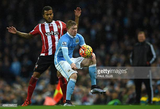 Manchester City's Belgian midfielder Kevin De Bruyne vies with Southampton's English defender Ryan Bertrand during the English Premier League...