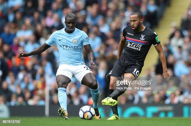 Manchester City's Benjamin Mendy and Crystal Palace's Andros Townsend in action