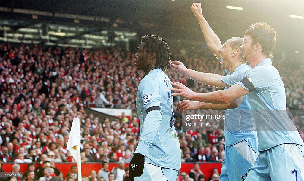Manchester City's Benjani Mwaruwari cele : News Photo