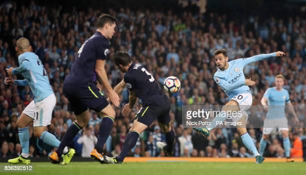 Manchester City's Bernado Silva has a shot at goal during the Premier League match at the Etihad Stadium Manchester