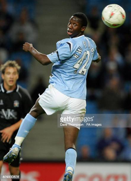 Manchester City's Bradley Wright Phillips in action against Barnsley during the Carling Cup Second Round clash at the City of Manchester Stadium THIS...
