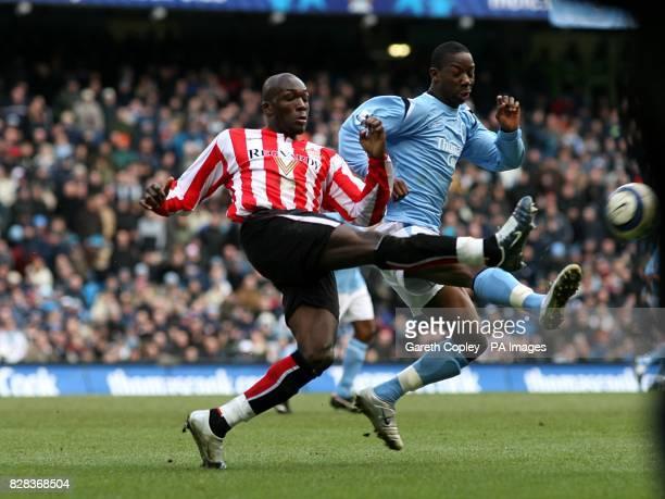 Manchester City's Bradley WrightPhillips and Sunderland's Nyron Nosworthy