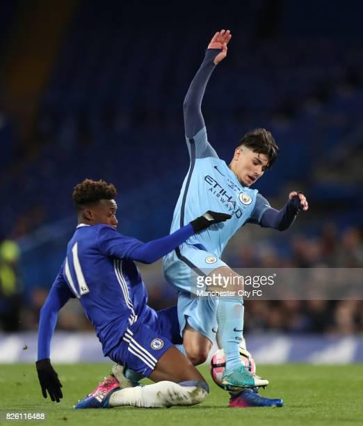 Manchester City's Brahim Diaz and Chelsea's Callum Hudson Odoi battle for the ball