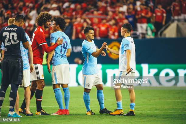 Manchester City's Brahim Diaz and Phil Foden at NRG Stadium on July 20 2017 in Houston Texas
