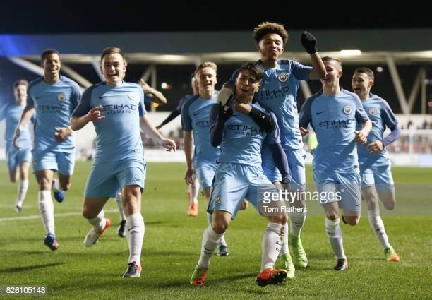 Manchester City's Brahim Diaz celebrates scoring against Stoke