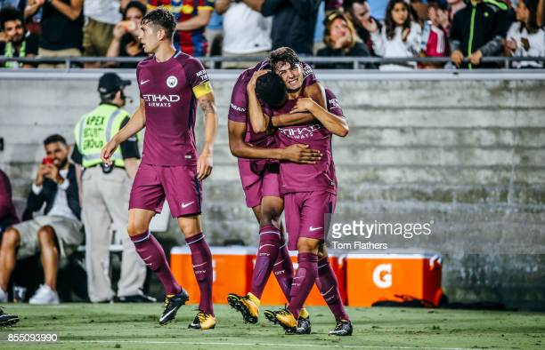 Manchester City's Brahim Diaz celebrates scoring at the Los Angeles Memorial Coliseum on July 26 2017 in Los Angeles California