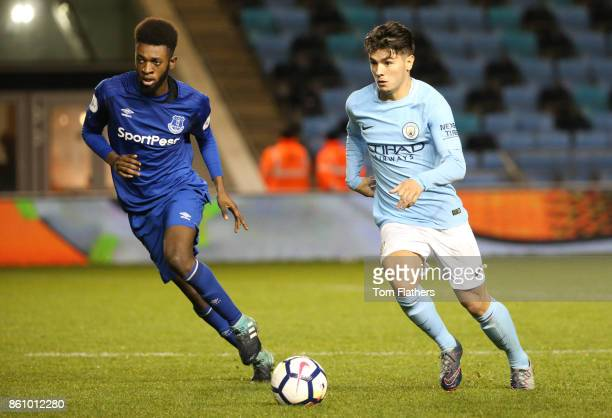 Manchester City's Brahim Diaz in action during the Premier League 2 match between Manchester City and Everton at Manchester City Football Academy on...