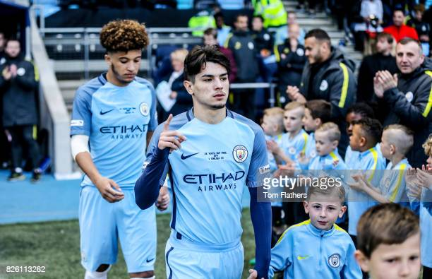 Manchester City's Brahim Diaz walks out to play Chelsea