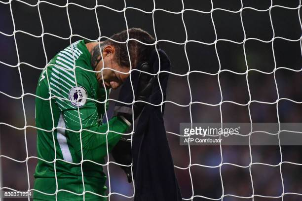 Manchester City's Brazilian goalkeeper Ederson in goal during the English Premier League football match between Manchester City and Everton at the...